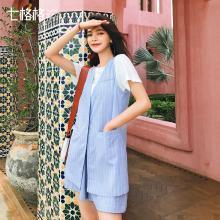 七格格女式长马夹中长款显瘦2019新款夏装百搭条纹修身时尚上衣潮