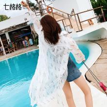 七格格白色衬衫女韩版长袖2019新款夏季宽松长款雪纺上衣洋气衬衣