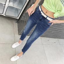 七格格牛仔裤女2019新款夏季高腰修身长裤子显瘦百搭小脚铅笔裤潮