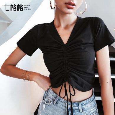 七格格短袖T恤女2019夏裝新款韓版修身顯瘦V領短款時尚上衣打底衫