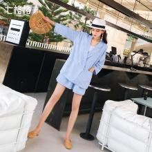 七格格小西装套装女韩版休闲气质2019夏季新款显瘦阔腿裤两件套潮