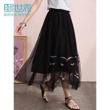 熙世界中长款刺绣抽象图案伞裙2019年夏装新款黑色很仙的裙子女装