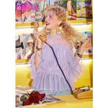妖精的口袋木耳边蕾丝衫2019夏新款女很仙的雪纺上衣洋气衬衫网纱