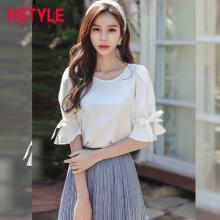 韩都衣舍2019夏装新款女装韩版宽松荷叶袖白色短袖衬衫OM60274樰