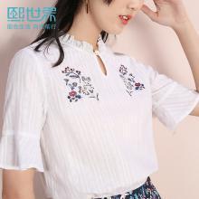 熙世界2019年夏裝新款很仙的上衣洋氣襯衣棉五分袖白色刺繡襯衫女