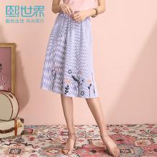 熙世界适合胯大腿粗的裙子2019年夏装新款蓝色刺绣A字裙中长款女