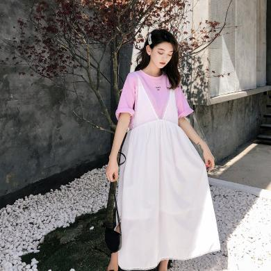 七格格連衣裙2019新款夏季很仙的法國小眾裙子女長款蕾絲吊帶裙潮