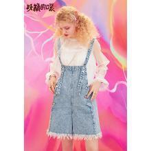 妖精的口袋  夏季背带牛仔裤