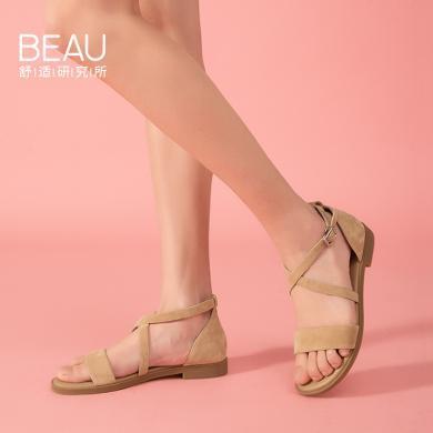 BEAU 夏季涼鞋女厚底百搭綁帶羅馬涼鞋女沙灘一字女鞋32096