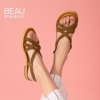 BEAU 夏季復古羅馬涼鞋女仙女風涼鞋簡約平底涼鞋綁帶女鞋32130