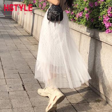 韓都衣舍2019夏裝新款女裝韓版寬松中長款波點半身裙OM80532筱