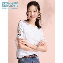 熙世界白底蓝条纹套头短袖白色宽松显瘦藏肉衬衫女2019年夏装新款