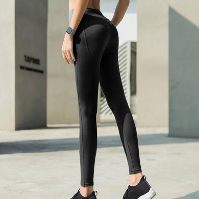 瑜伽褲女緊身高腰提臀外穿彈力收腹健身褲打底運動褲淺灰色顯腿長