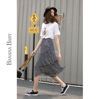 BANANA BABY2019夏季新款韓版荷葉邊不規則波點雪紡半裙蛋糕裙女D292QZ383