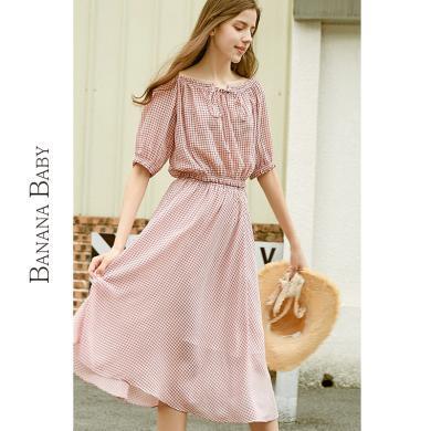 BANANA BABY2019夏裝新款韓版短款襯衣格子薄款雪紡半身裙女套裝D292TZ385