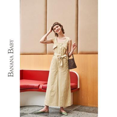 BANANA BABY2019夏新款韓版系帶收腰闊腿休閑褲吊帶工裝連衣褲女D292LT407