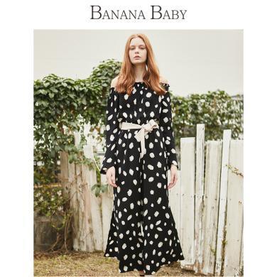 BANANA BABY2019春季新款休閑系帶收腰一字領喇叭袖闊腿連體褲女D291LT631