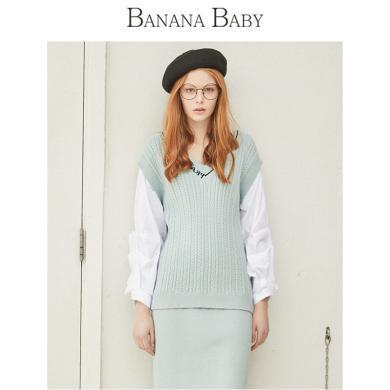 BANANA BABY2019春季新款V領休閑字母背心毛衫拼接假兩件針織衫女D291MY608