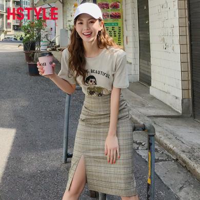韓都衣舍2019夏裝新款女裝韓版兩件套印花格子時尚套裝OM80260樰