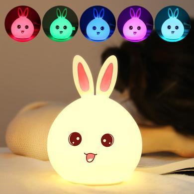 創意萌兔硅膠燈 兒童臥室拍拍燈變色充電遙控小夜燈可愛禮品燈具