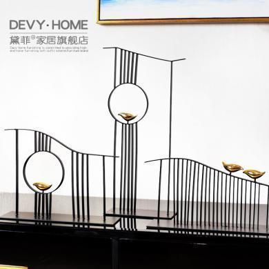 DEVY新中式家居禪意擺件書柜軟裝飾工藝品玄關客廳電視柜金屬擺設
