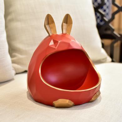DEVY簡約現代創意兔子鑰匙收納擺件客廳干果首飾桌面收納盒儲錢罐