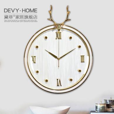 DEVY 现代轻奢铜鹿头挂钟壁饰时尚北欧简约客厅创意家用时钟钟表