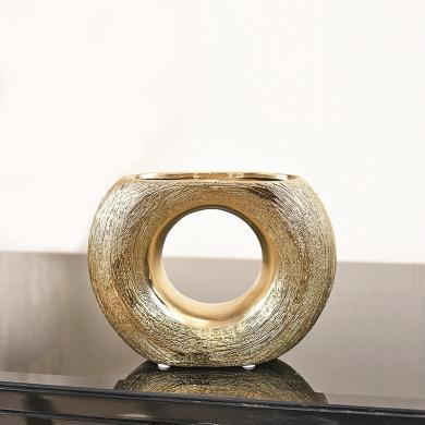 DEVY現代輕奢鏤空長頸陶瓷花瓶歐式樣板房幾何花器軟裝飾品擺件