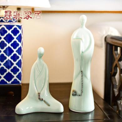 墨菲 新中式禅意佛像陶瓷摆件家居样板房客厅书房办公室软装饰品