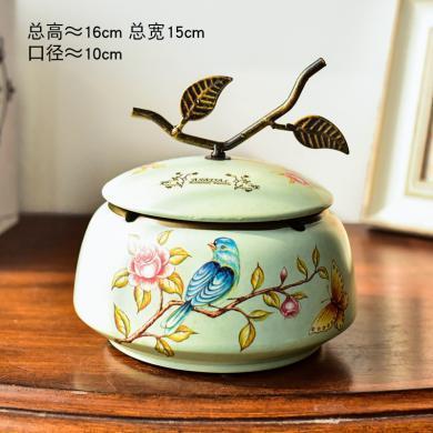 墨菲美式鄉村帶蓋煙灰缸創意陶瓷歐式客廳茶幾復古收納盒裝飾擺件