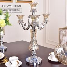 DEVY歐式創意浪漫四頭燭臺擺件美式餐桌樣板房裝飾品燭光晚餐擺設