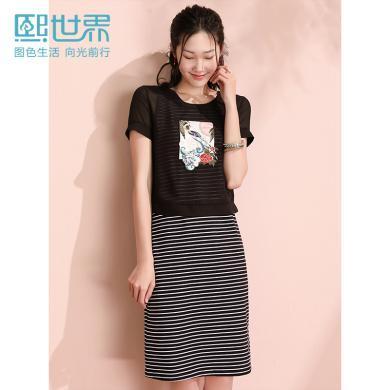 熙世界2019年夏裝新款短袖印花條紋修身背心連衣裙兩件套網紗套裝