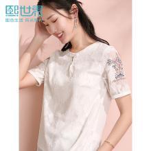 熙世界2019年夏裝新款白色套頭刺繡心機短袖襯衫女遮肚藏肉襯衣女