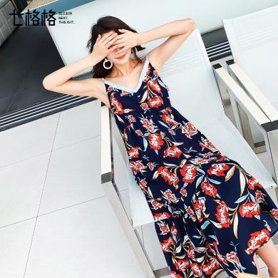 七格格連衣裙女2019新款夏季韓版高腰寬松顯瘦v領印花露背吊帶裙