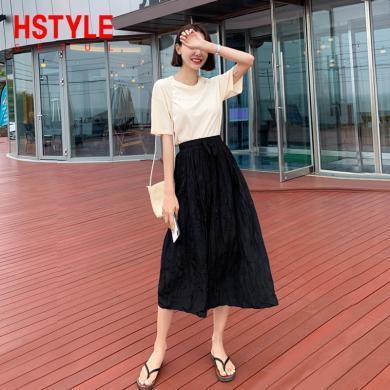 韩都衣舍2019韩版女装夏装纯色系带两件套a字裙时尚套装OK1392緈