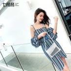 七格格吊帶連衣裙女2019新款夏季小清新高腰韓版收腰顯瘦氣質裙子