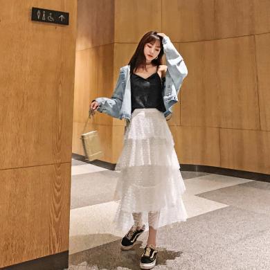 七格格吊带女2019新款夏季韩版修身显瘦露背内搭上衣黑色亮丝背心