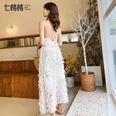 七格格连衣裙女2019新款夏季韩版仙女碎花雪纺显瘦白色露背吊带裙