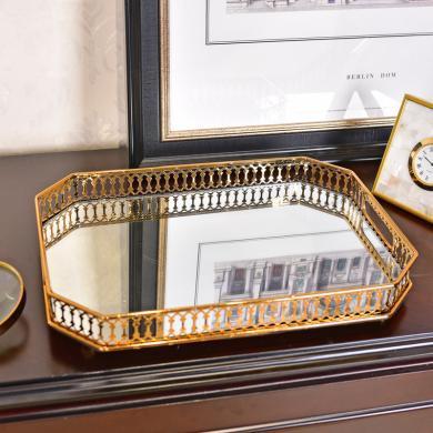 DEVY歐式輕奢創意金屬鏤空托盤玻璃鏡面客廳家居茶盤茶幾裝飾擺件
