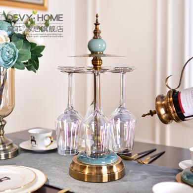 DEVY 歐式古典輕奢紅酒杯架家用餐廳紅酒架酒柜擺件創意高腳杯架