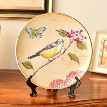 墨菲美式鄉村復古陶瓷擺盤擺件家居裝飾客廳歐式博古架工藝品坐盤