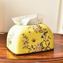 墨菲 美式鄉村陶瓷家用抽紙盒 歐式客廳餐廳裝飾紙抽盒餐巾紙巾盒