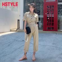 韩都衣舍2019夏装新款韩版女装显瘦高腰连体工装休闲裤OM80538樰