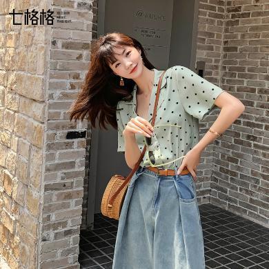 七格格雪紡襯衫女韓版2019新款夏季閨蜜裝襯衣設計感小眾波點上衣
