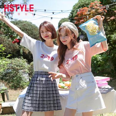 韓都衣舍2019夏裝新款女裝韓版學生打底字母印花短袖T恤NW12296棽