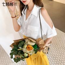 七格格白色襯衫女2019新款夏韓版chic雪紡短袖襯衣設計感小眾上衣