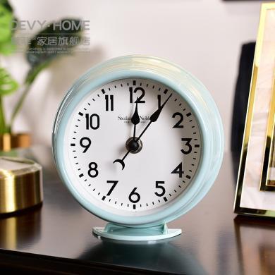 DEVY現代簡約時鐘表座鐘裝飾品擺件歐式家居床頭柜坐鐘桌面臺鐘表