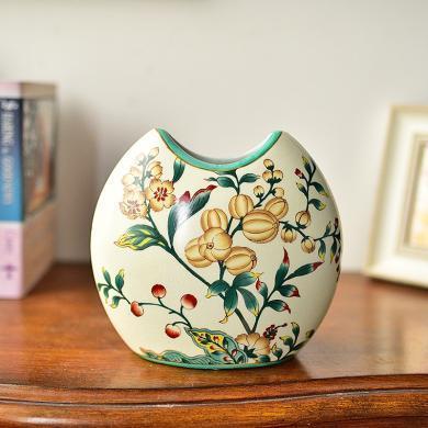 墨菲美式鄉村陶瓷水培花瓶新中式客廳仿真花藝鮮花插花器裝飾擺件