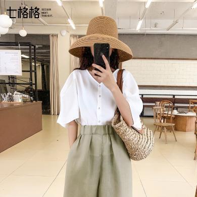 七格格白色雪紡襯衫女2019新款夏季韓版短袖v領宮廷風泡泡袖上衣