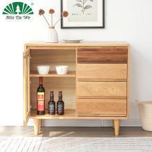 名達威北歐全實木單門餐邊柜酒柜簡約碗廚儲物柜白橡木餐廳家具